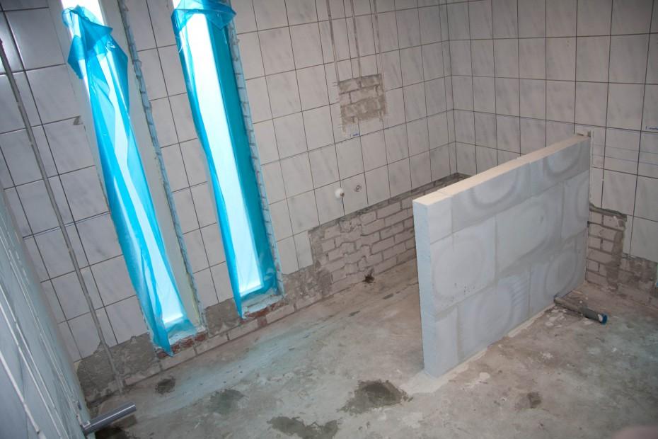 Afscheidingsmuurtje voor douche